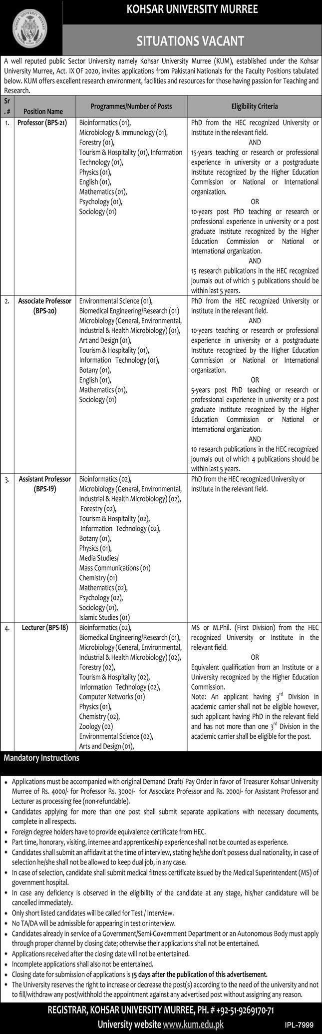 Kohsar University jobs newspaper ad for Professor in Murree on 2021-08-08