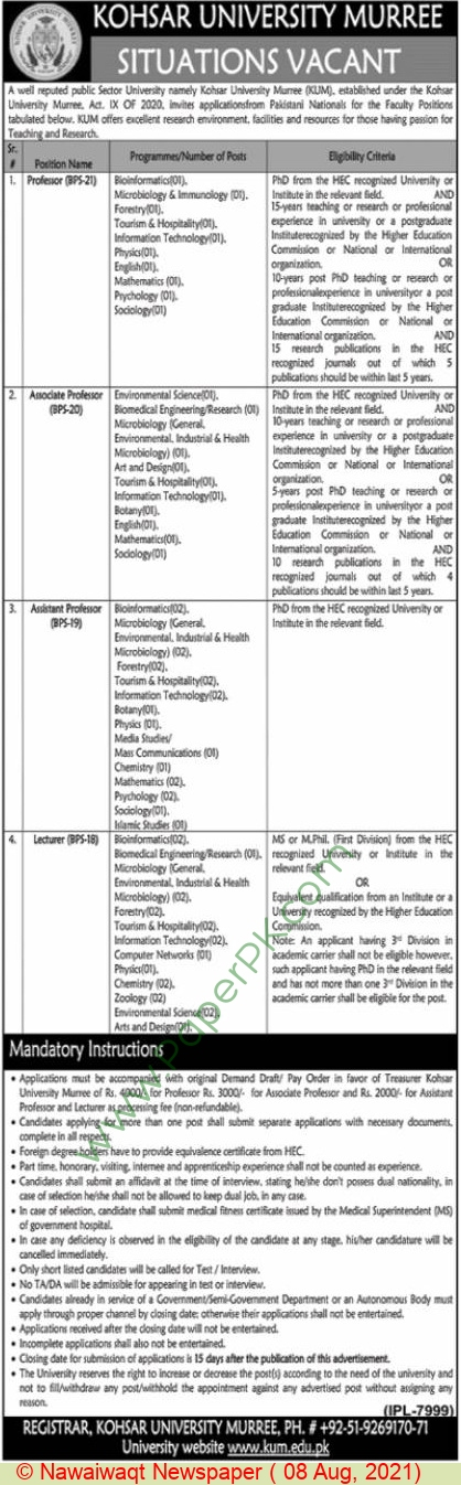 Kohsar University jobs newspaper ad for Associate Professor in Murree on 2021-08-08