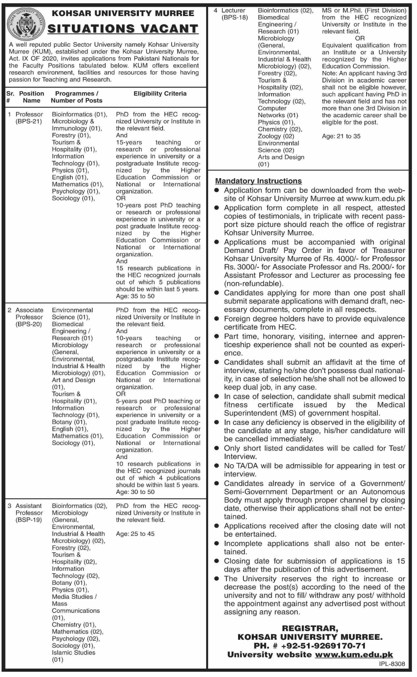 Kohsar University jobs newspaper ad for Assistant Professor in Murree on 2021-08-13