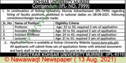 Kohsar University jobs newspaper ad for Professor in Islamabad on 2021-08-13