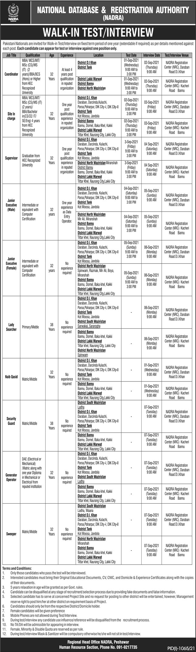 National Database And Registration Authority jobs newspaper ad for Junior Executive in Peshawar on 2021-08-22