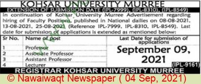 Kohsar University jobs newspaper ad for Professor in Murree on 2021-09-04