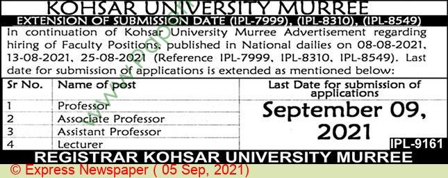 Kohsar University jobs newspaper ad for Professor in Murree on 2021-09-05