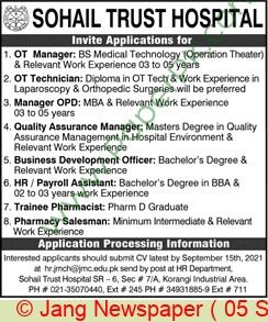 Sohail Trust Hospital jobs newspaper ad for Payroll Assistant in Karachi on 2021-09-05