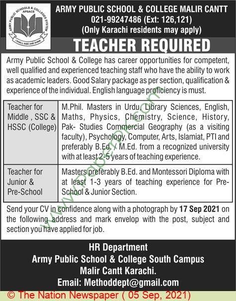 Army Public School & College jobs newspaper ad for Teacher in Karachi on 2021-09-05