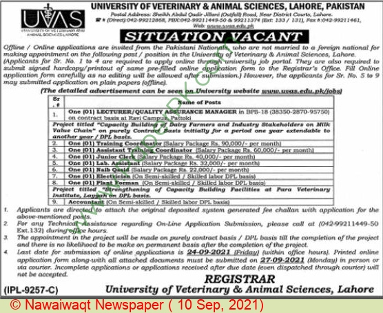 University Of Veterinary & Animal Sciences jobs newspaper ad for Lecturer in Lahore on 2021-09-10