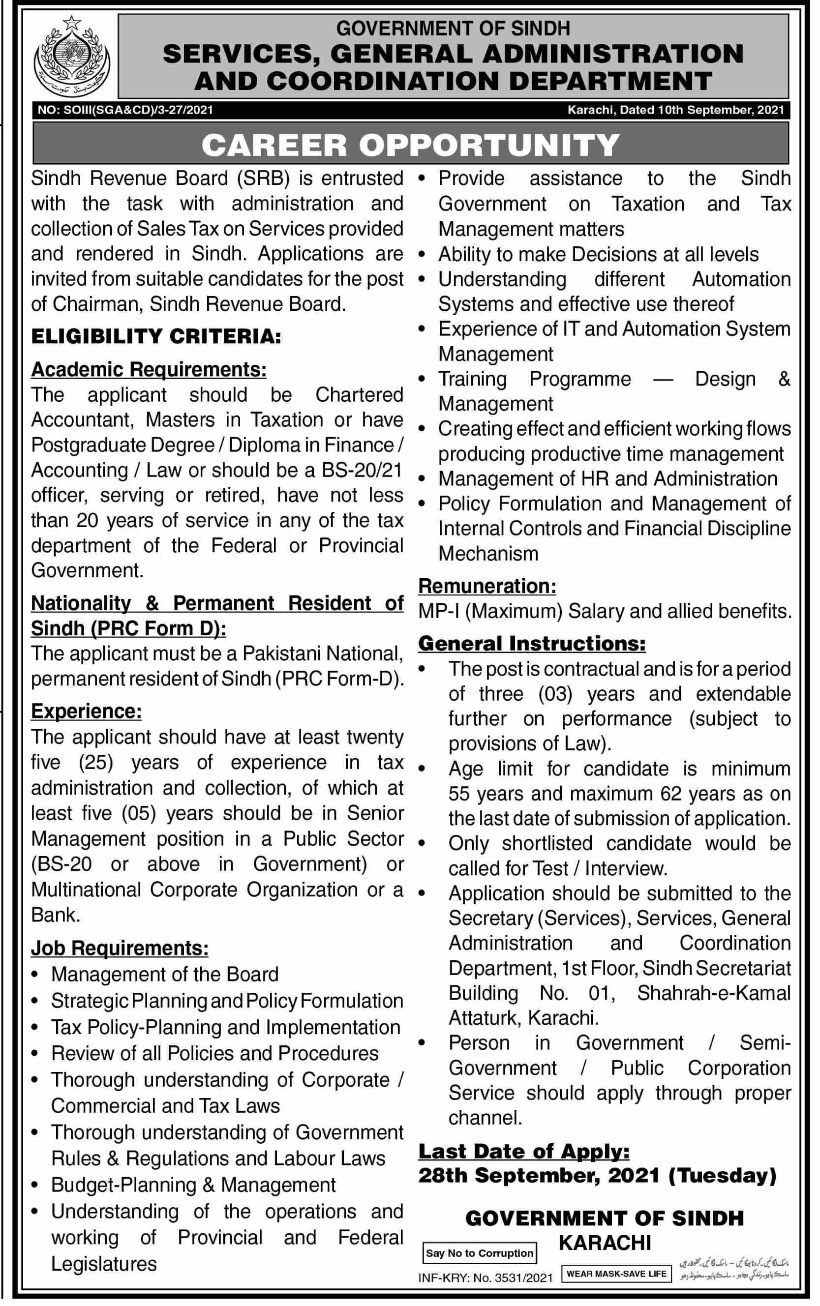Services General Administration & Coordination Department jobs newspaper ad for Chairman in Karachi on 2021-09-11