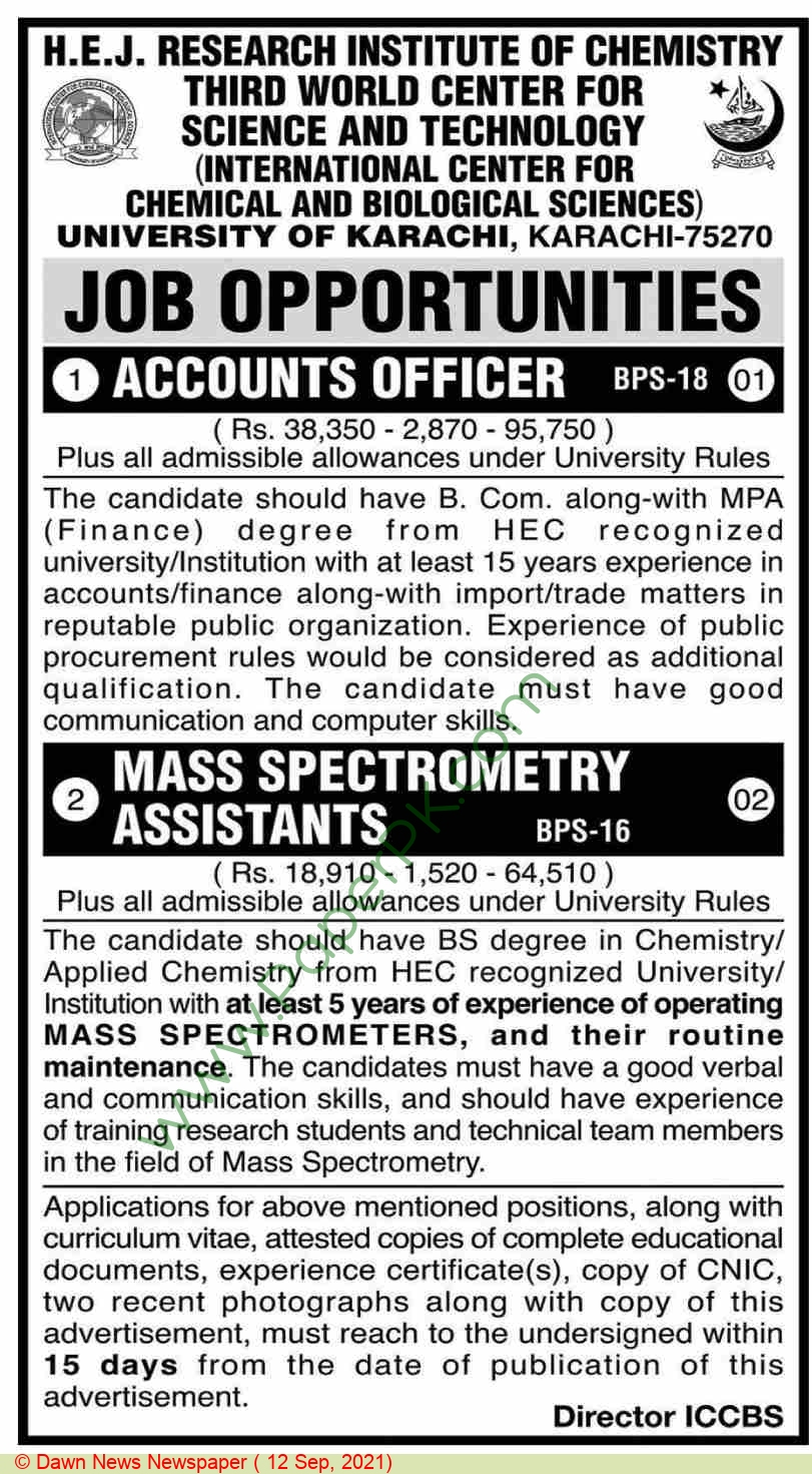 International Center For Chemical & Biological Sciences jobs newspaper ad for Accounts Officer in Karachi on 2021-09-12