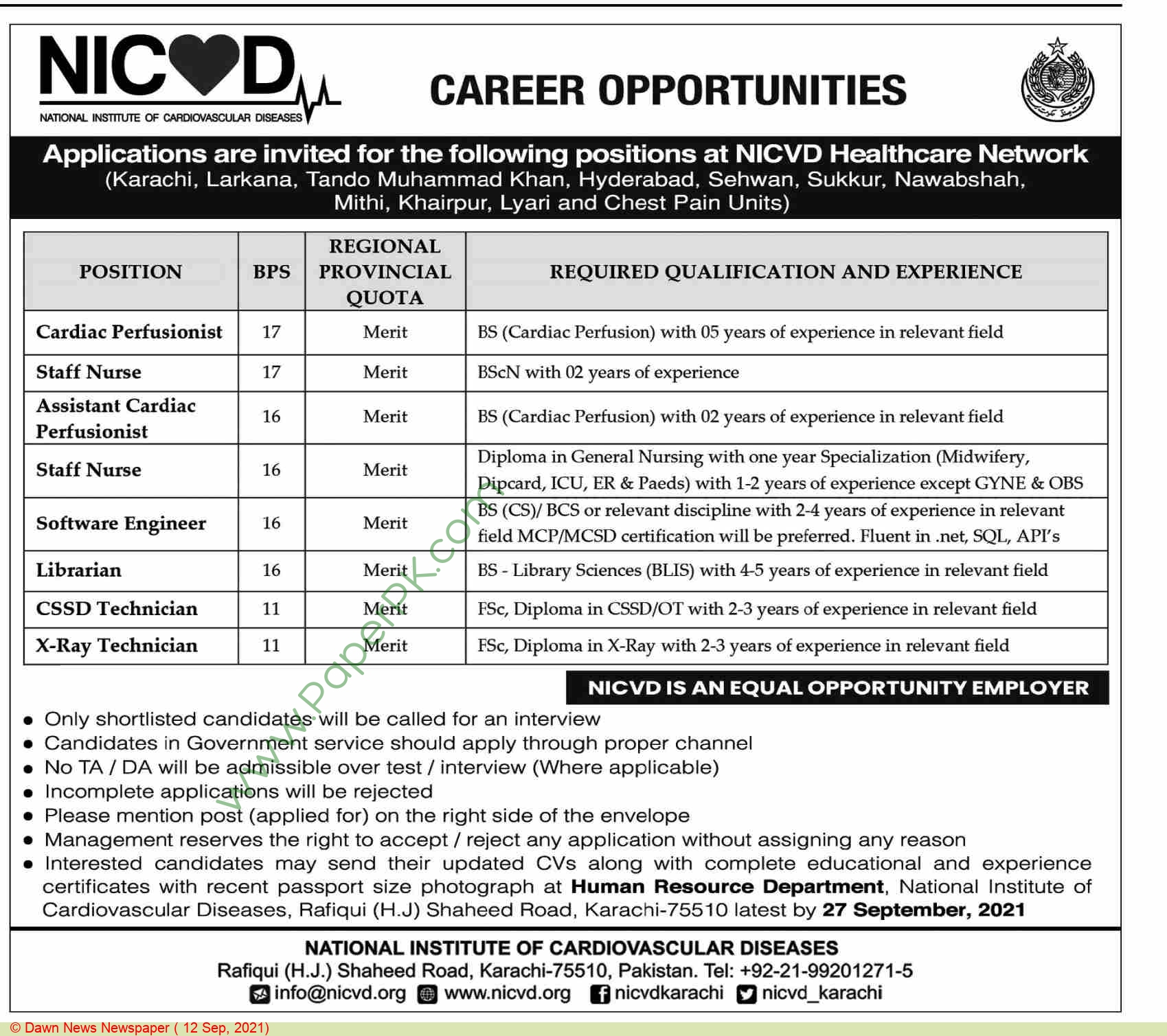 National Institute Of Cardiovascular Diseases jobs newspaper ad for Cssd Technician in Karachi on 2021-09-12