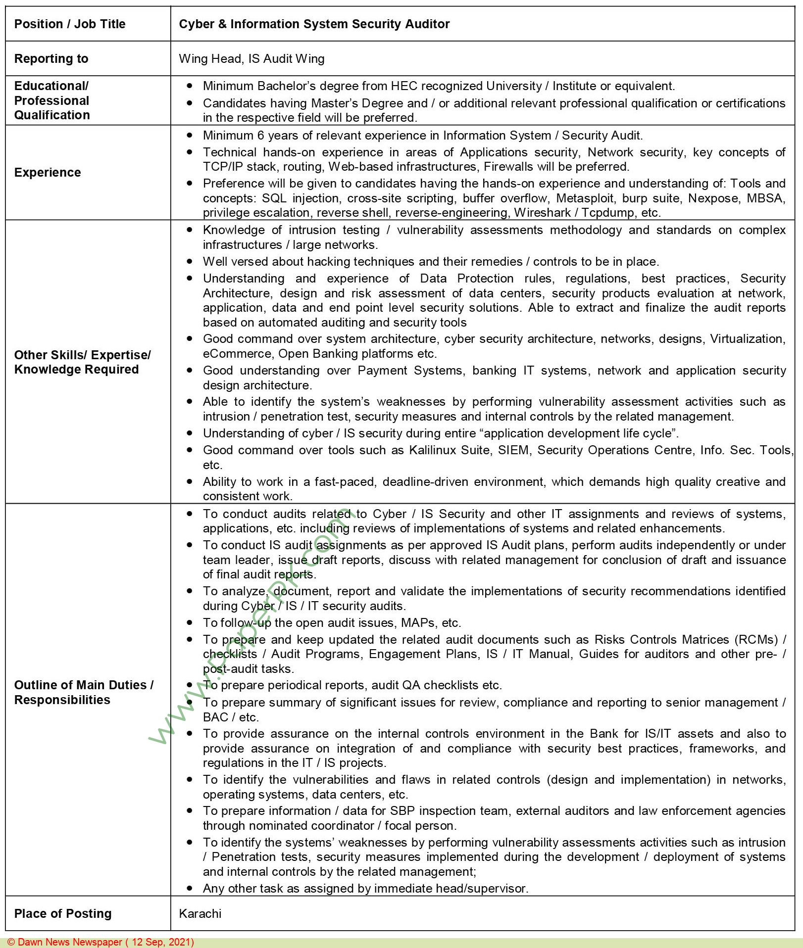 Sidat Hyder Morshed Associates Private Limited jobs newspaper ad for Cyber & Information System Security Auditor in Karachi on 2021-09-12