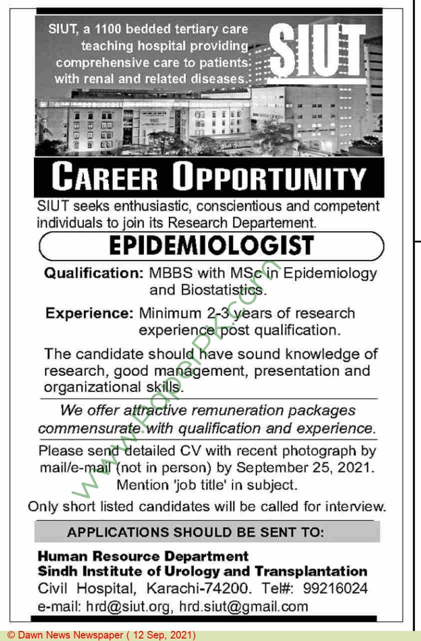 Sindh Institute Of Urology & Transplantation jobs newspaper ad for Epidemiologist in Karachi on 2021-09-12