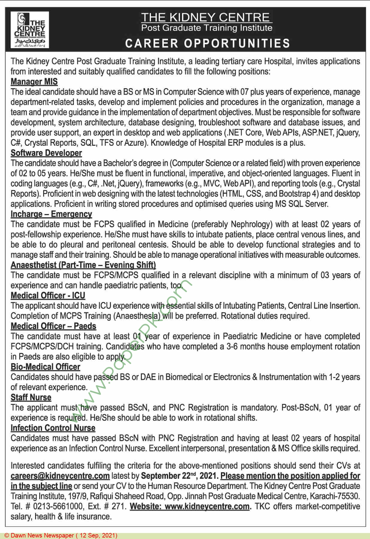 The Kidney Centre Postgraduate Training Institute jobs newspaper ad for Incharge Emergency in Karachi on 2021-09-12
