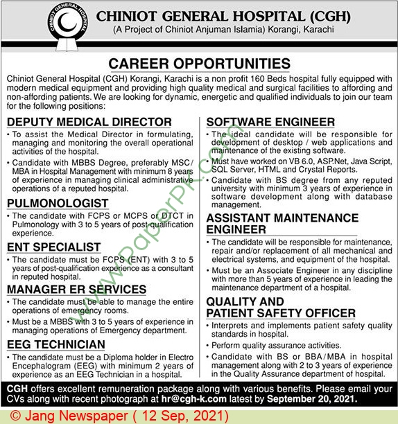 Chiniot General Hospital jobs newspaper ad for Assistant Maintenance Engineer in Chiniot, Karachi on 2021-09-12
