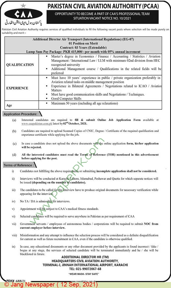 Pakistan Civil Aviation Authority jobs newspaper ad for Additional Director in Karachi on 2021-09-12