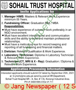 Sohail Trust Hospital jobs newspaper ad for Dietician in Karachi on 2021-09-12