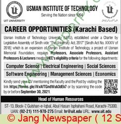 Usman Institute Of Technology jobs newspaper ad for Professor in Karachi on 2021-09-12