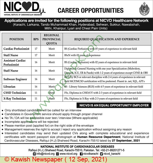 National Institute Of Cardiovascular Diseases jobs newspaper ad for Librarian in Karachi on 2021-09-12
