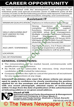 National Industrial Parks Development & Management Company jobs newspaper ad for It Assistant in Karachi on 2021-09-12
