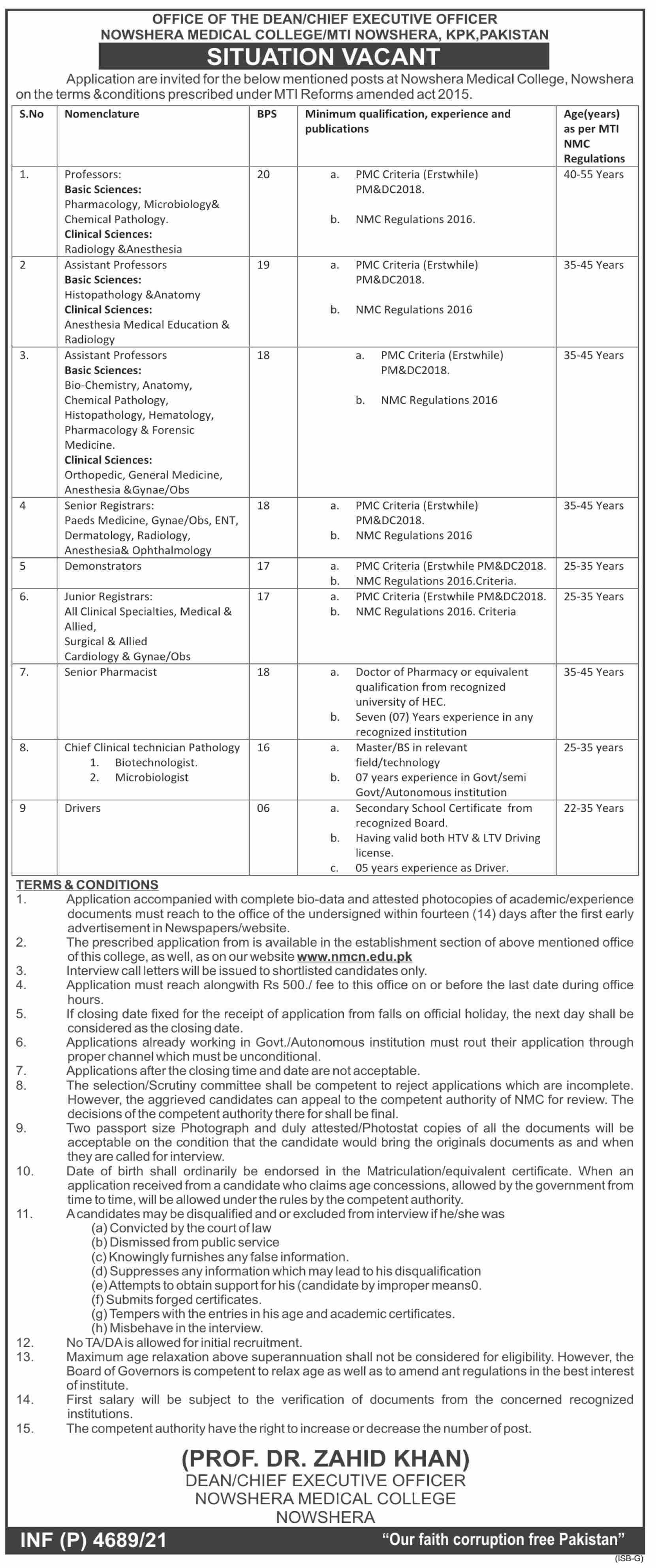 Nowshera Medical College jobs newspaper ad for Senior Registrar in Nowshera on 2021-09-14
