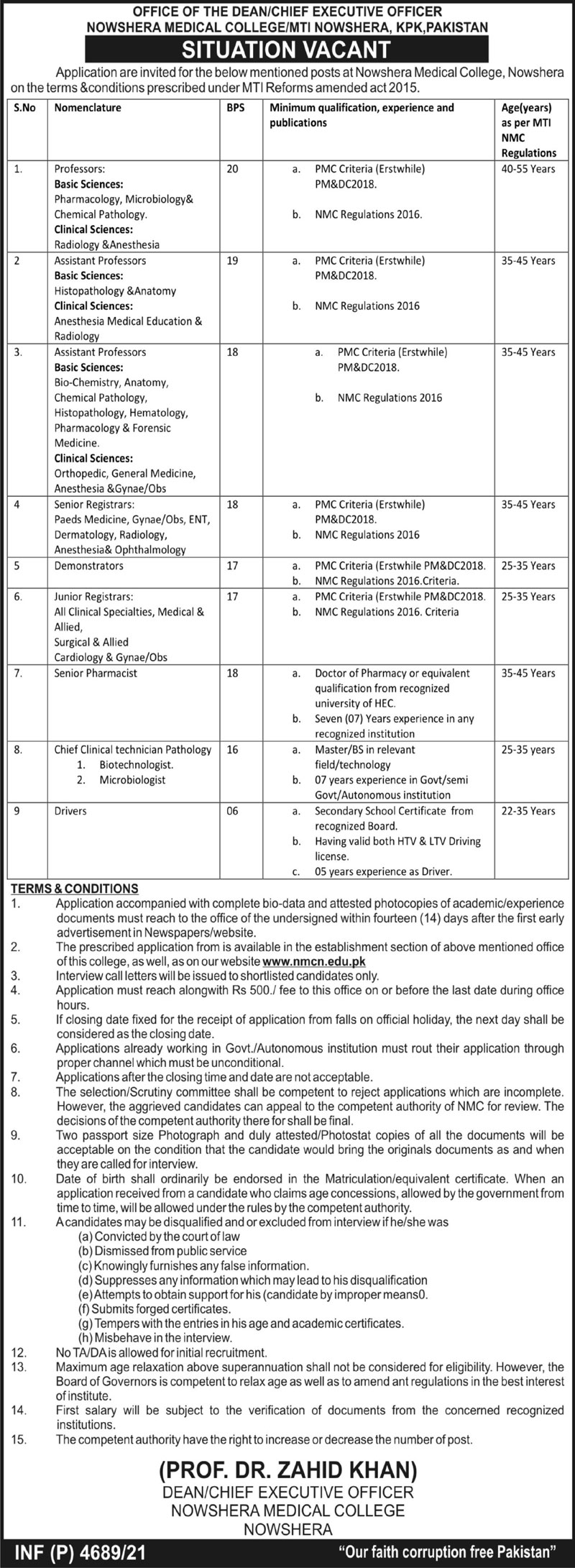 Nowshera Medical College jobs newspaper ad for Registrar in Nowshera on 2021-09-14
