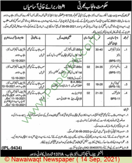 Mines & Minerals Department jobs newspaper ad for Junior Clerk in Lahore on 2021-09-14