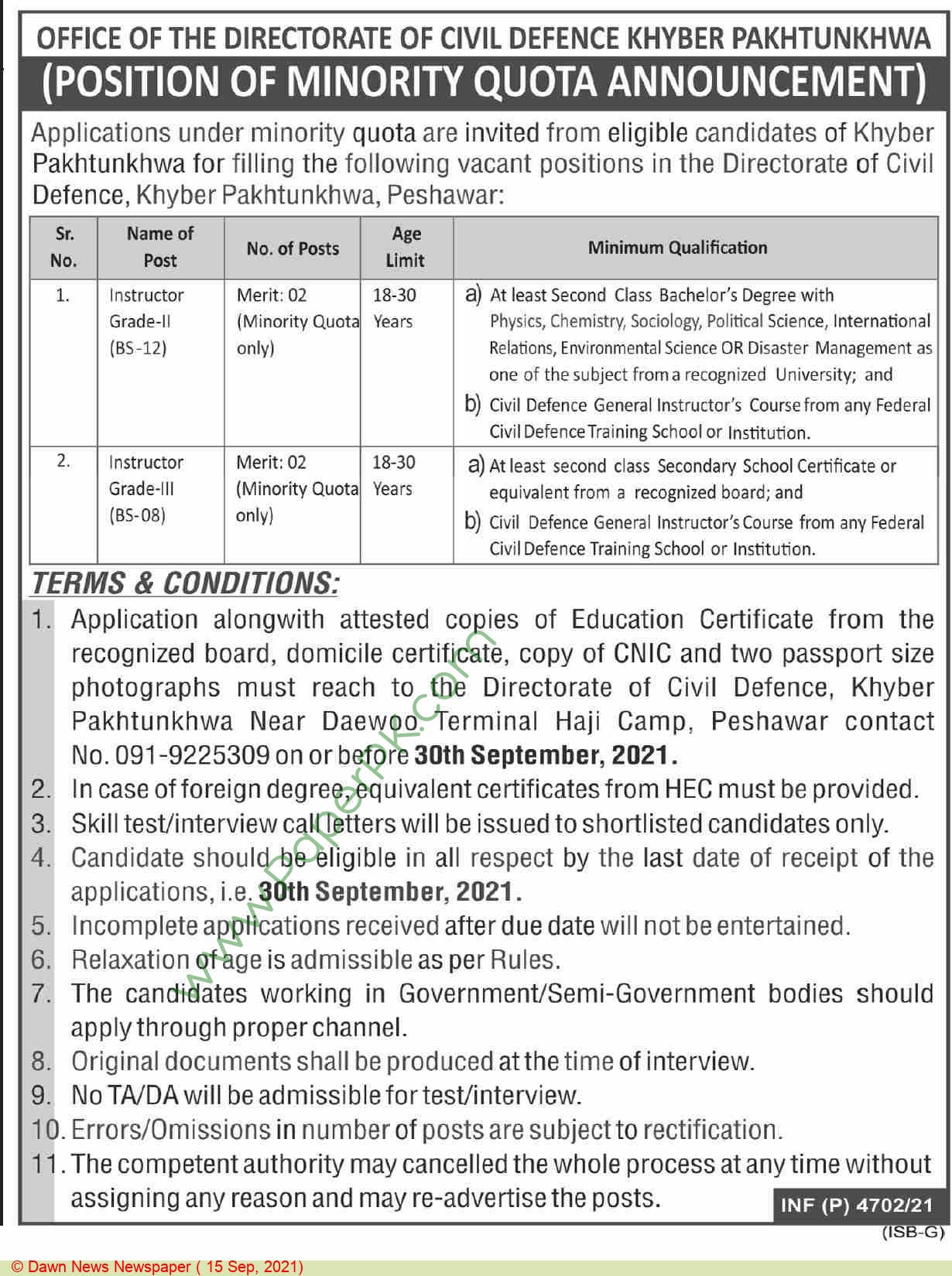 Directorate Of Civil Defence jobs newspaper ad for Instructor in Peshawar on 2021-09-15