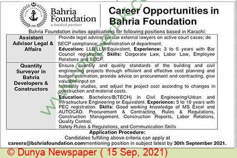 Bahria Foundation jobs newspaper ad for Assistant Advisor Legal & Affairs in Karachi on 2021-09-15