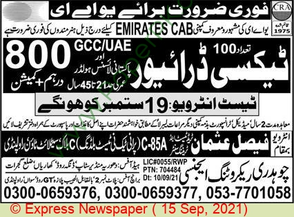 Chaudhry Recruiting Agency jobs newspaper ad for Taxi Driver in Gujrat on 2021-09-15