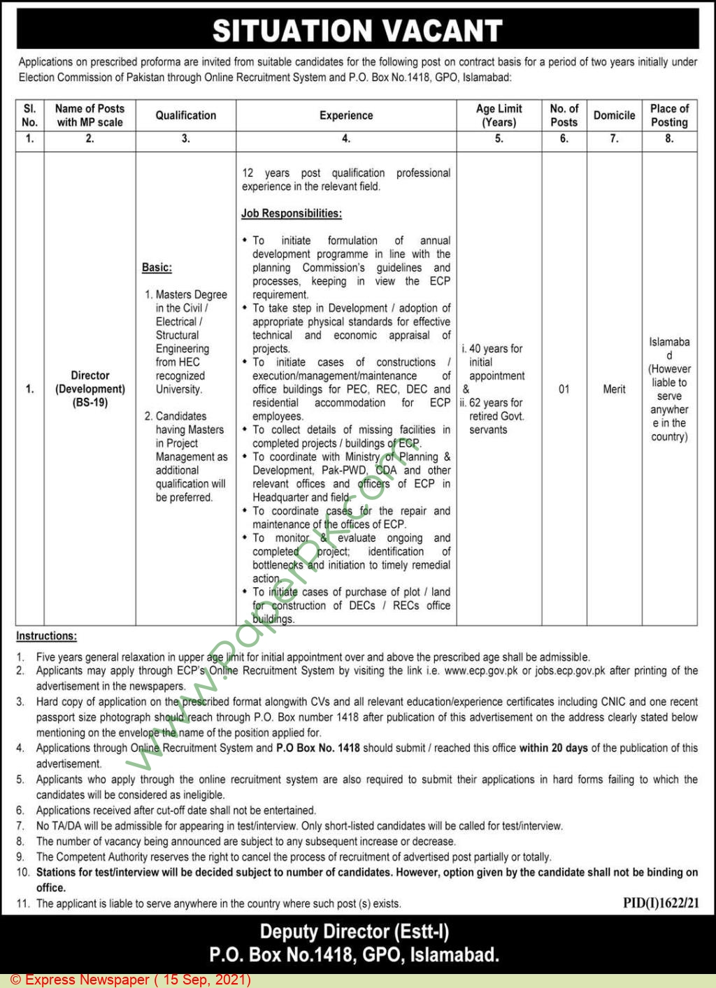 Election Commission Of Pakistan jobs newspaper ad for Director in Islamabad on 2021-09-15