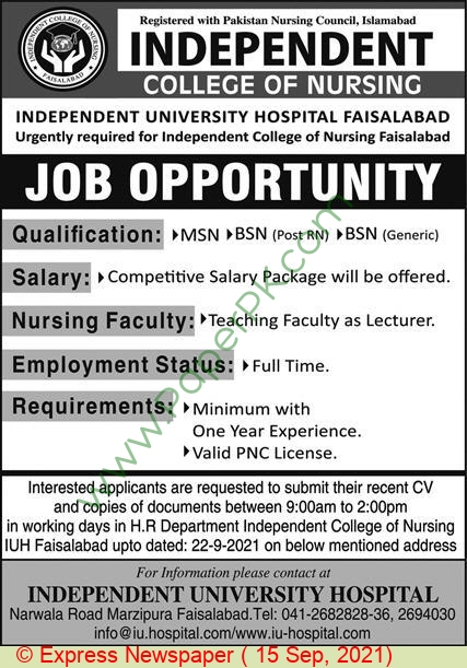 Independent College Of Nursing jobs newspaper ad for Lecturer in Faisalabad on 2021-09-15
