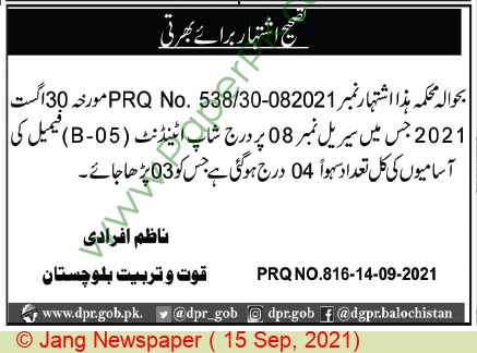 Balochistan Government jobs newspaper ad for Shop Attendant in Quetta on 2021-09-15