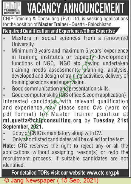 Chip Training & Consulting Private Limited jobs newspaper ad for Master Trainer in Quetta on 2021-09-15