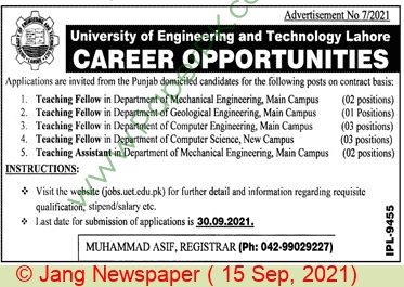 Balochistan University Of Engineering & Technology jobs newspaper ad for Teaching Assistant in Lahore on 2021-09-15