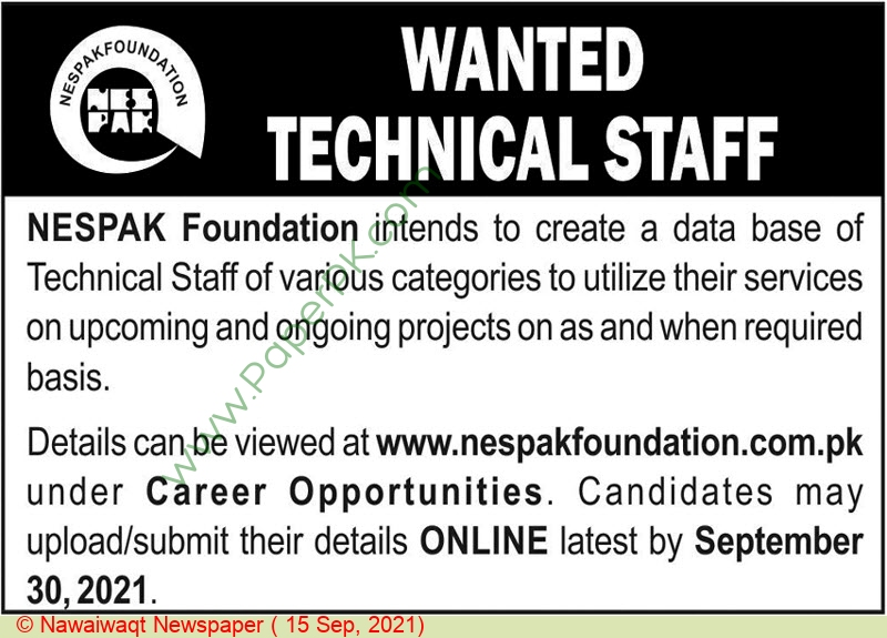 National Engineering Services Pakistan Private Limited jobs newspaper ad for Technical Staff in Lahore on 2021-09-15