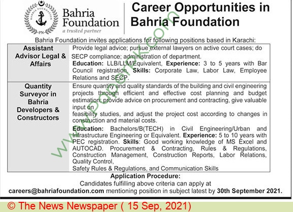 Bahria Foundation College jobs newspaper ad for Assistant Advisor Legal in Karachi on 2021-09-15