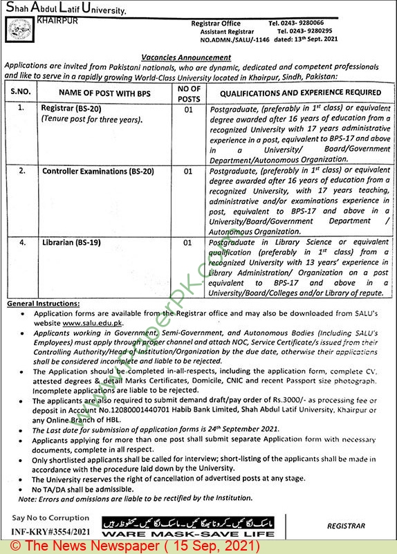 Shah Abdul Latif University jobs newspaper ad for Controller Examination in Khairpur on 2021-09-15