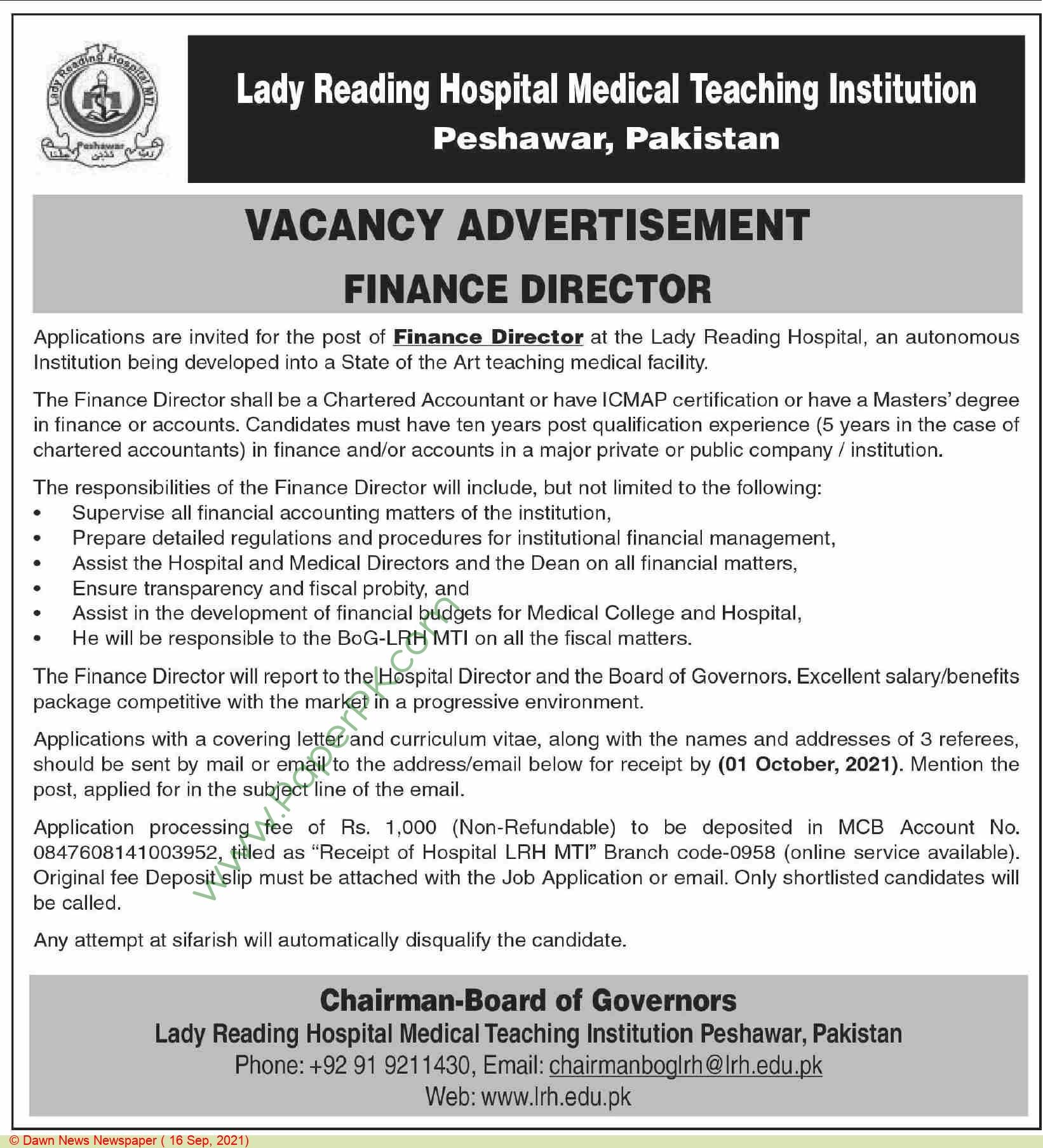 Lady Reading Hospital Peshawar Jobs For Finance Director advertisemet in newspaper on September 16,2021