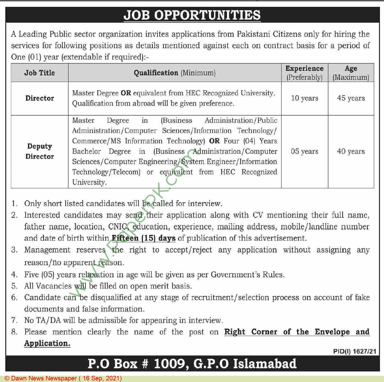 Public Sector Organization Islamabad Jobs For Director advertisemet in newspaper on September 16,2021