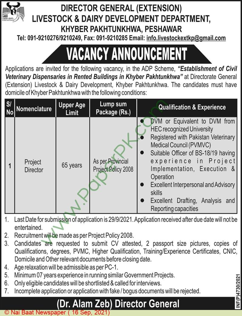 Livestock & Dairy Development Department Peshawar Jobs For Project Director advertisemet in newspaper on September 16,2021