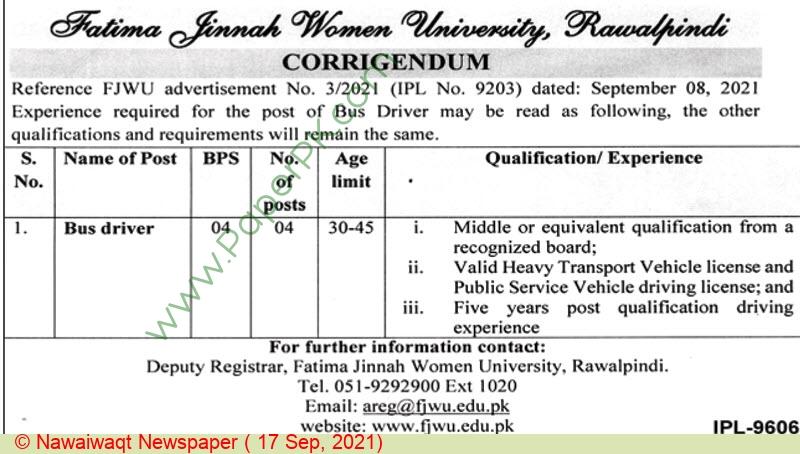 Fatima Jinnah Women University Rawalpindi Jobs For Bus Driver advertisemet in newspaper on September 17,2021