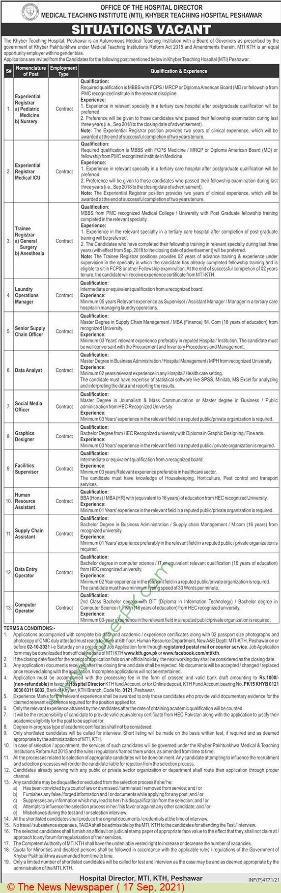 Khyber Teaching Hospital Peshawar Jobs For Data Analyst, Social Media Officer, Graphic Designer advertisemet in newspaper on September 17,2021