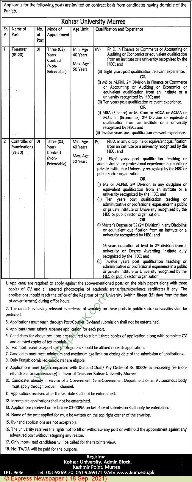 Kohsar University jobs newspaper ad for Treasurer in Murree on 2021-09-18