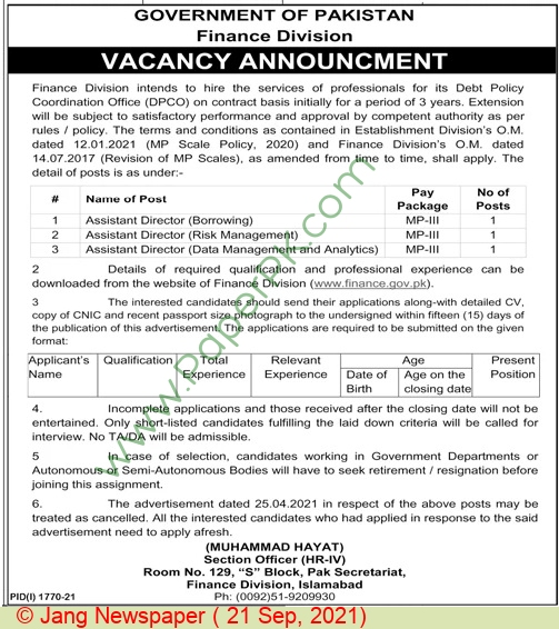 Finance Division Islamabad Jobs For Assistant Director advertisemet in newspaper on September 21,2021