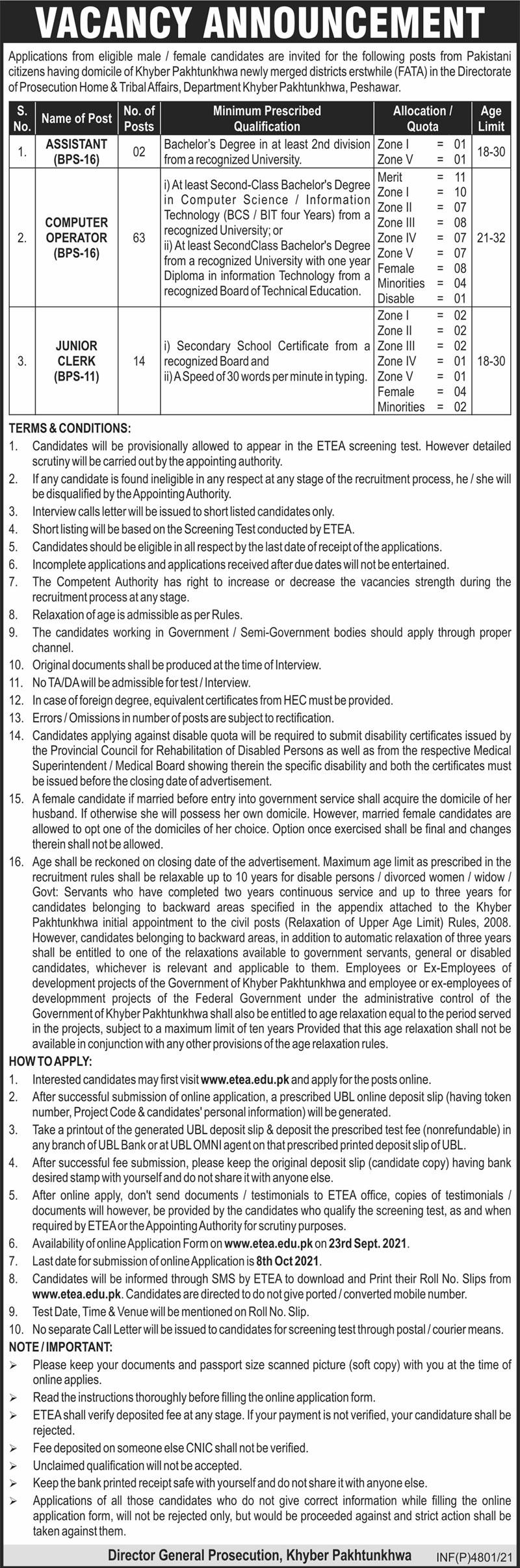 Home & Tribal Affairs Department Peshawar Jobs For Assistant, Computer Operator, Junior Clerk advertisemet in newspaper on September 21,2021