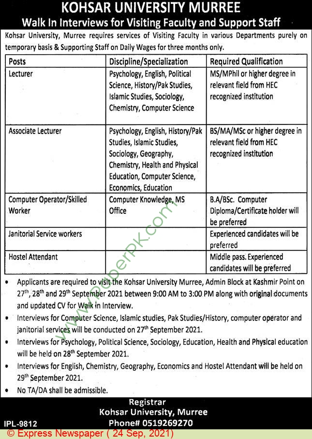 Kohsar University jobs newspaper ad for Associate Lecturer in Murree on 2021-09-24
