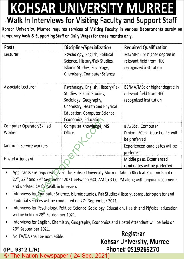 Kohsar University jobs newspaper ad for Lecturer in Murree on 2021-09-24