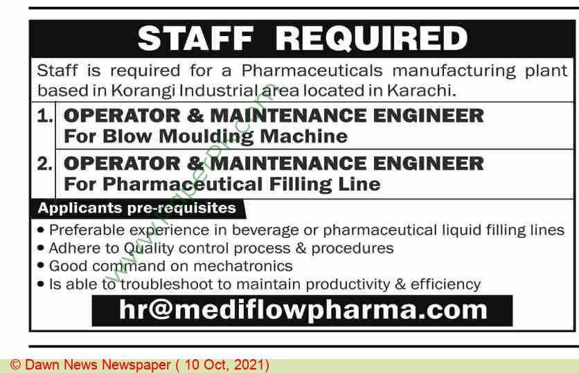 Medi Flow Pharma jobs newspaper ad for Operator & Maintenance Engineer in Karachi on 2021-10-10