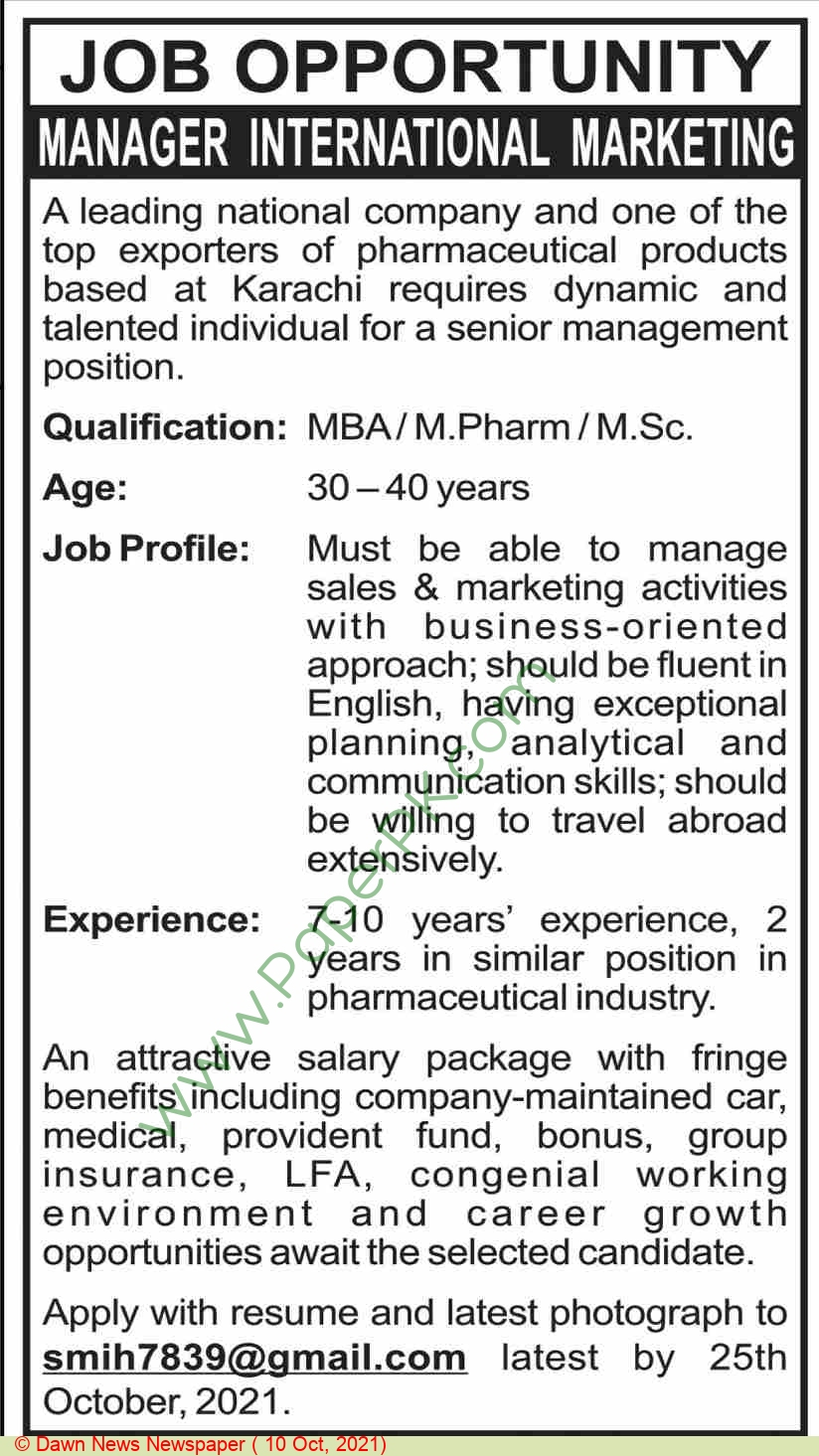 Pakistan Based Company jobs newspaper ad for Manager International Marketing in Karachi on 2021-10-10