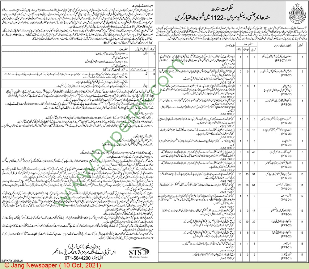 Sindh emergency service 1122 jobs