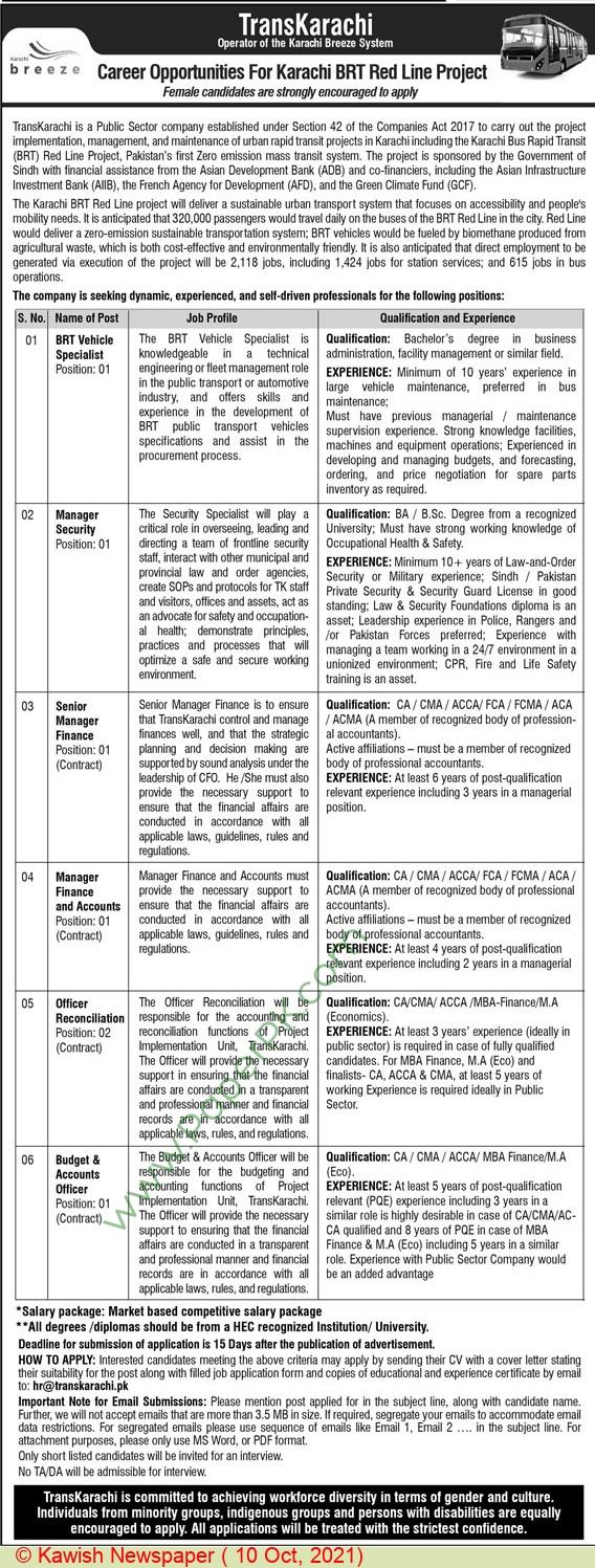 Transkarachi jobs newspaper ad for Manager Security in Karachi on 2021-10-10